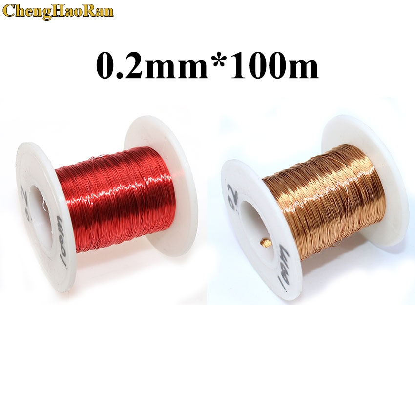 ChengHaoRan 0.2mm x 100 m/200 m/pc Vermelho Bobina de Enrolamento de fio de Cobre Esmaltado Fio Magnético do Ímã 0.2 milímetros vermelho
