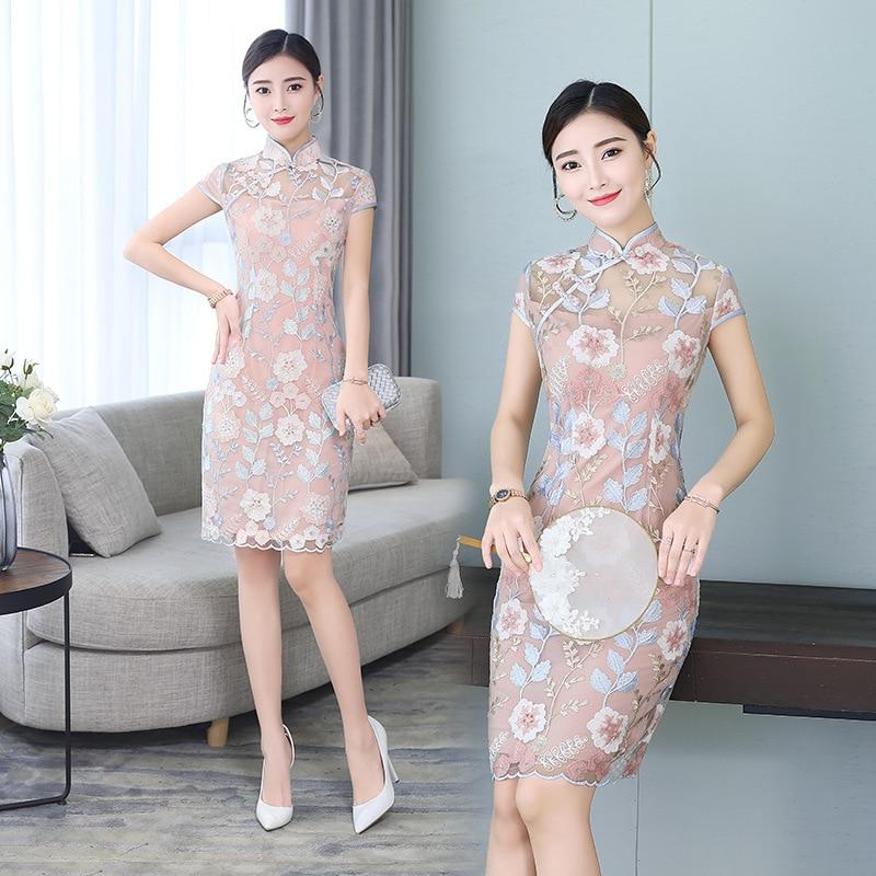 Qipao moderno de encaje, Vestido tradicional chino, Cheongsam, traje para banquete, Qipao corto para mujer, vestidos de fiesta de noche Oriental