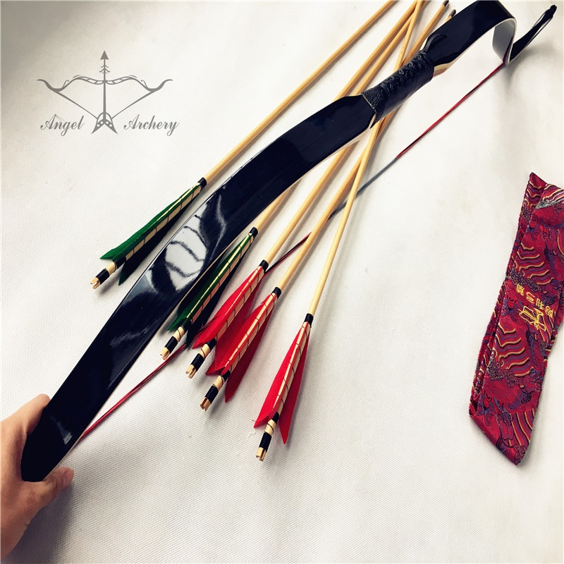 Juego de arco laminado negro, arco recurvo laminado de arquería, arco curvo, arco laminado hecho a mano 20lb-60lb + 6 flechas de madera + 1 bolsa