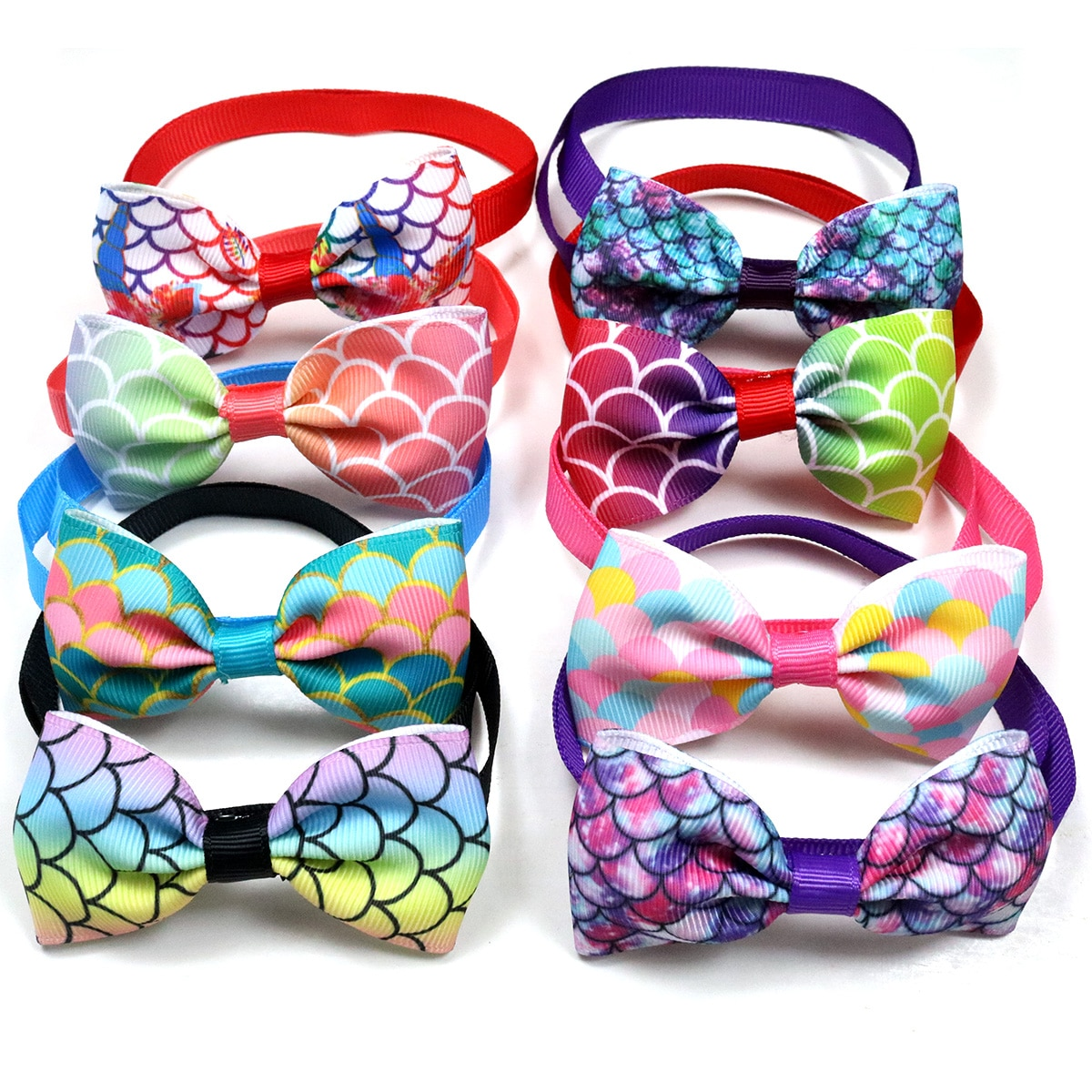 10PCS Cute Pet Dog Cat Bow Ties Adjustable Fish Scale Patterns Holiday Party Dog Accessories Pet Sup