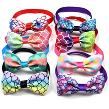 10PCS Cute Pet Dog Cat Bow Ties Adjustable Fish Scale Patterns Holiday Party  Dog Accessories Pet Su