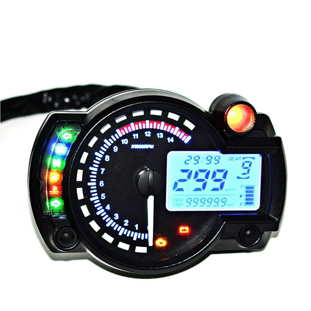 15000 RPM Meter Motorcycle Digital Speedometer Tachometer Odometer LCD Fuel Gauge DC 12V MAX 299KM/H 7 Color Adjustable