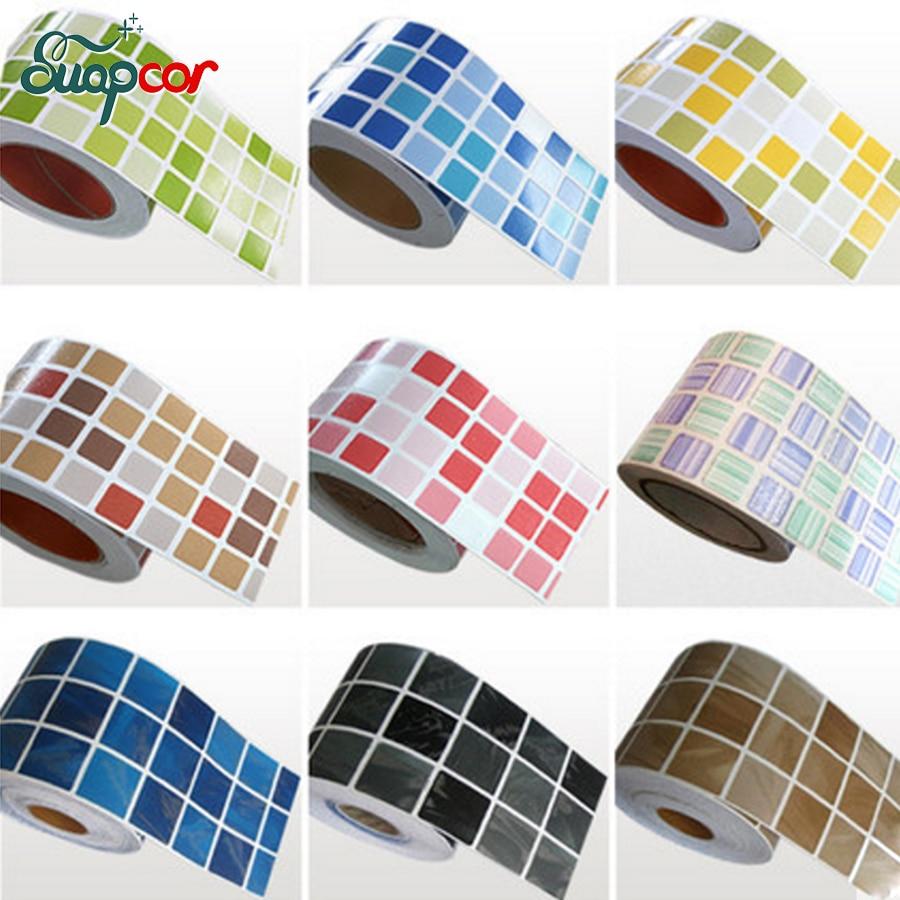 0.1x5M Modern Bathroom Decorative Film DIY Kitchen Vinyl Waistline Self Adhesive Wallpaper Borders Waterproof PVC Wall Stickers