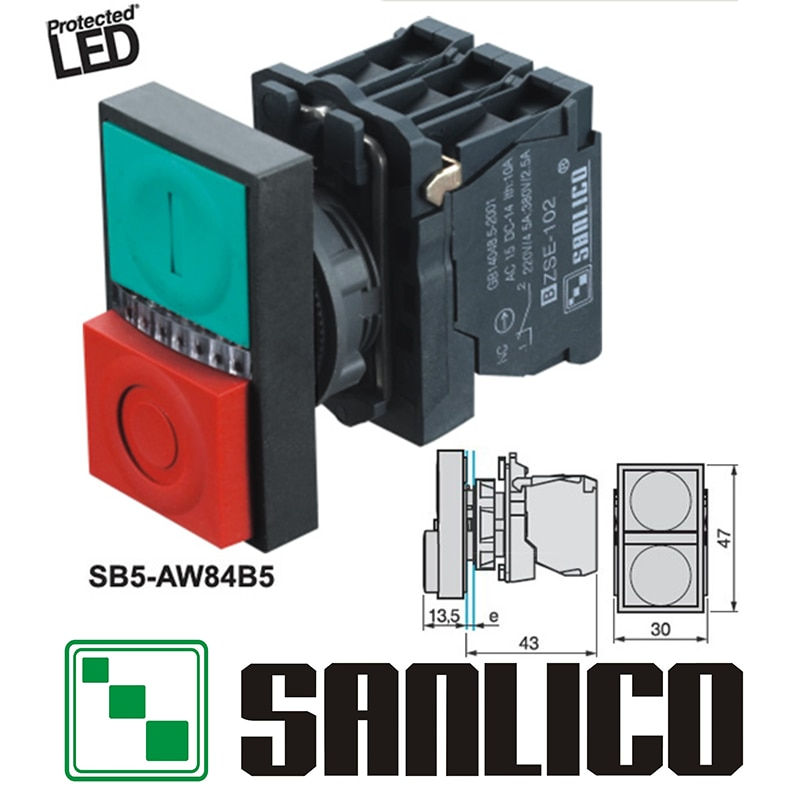 Interruptor de doble cabezal iluminado con LED impermeable SB5 (LA68S XB5)-AW84B5