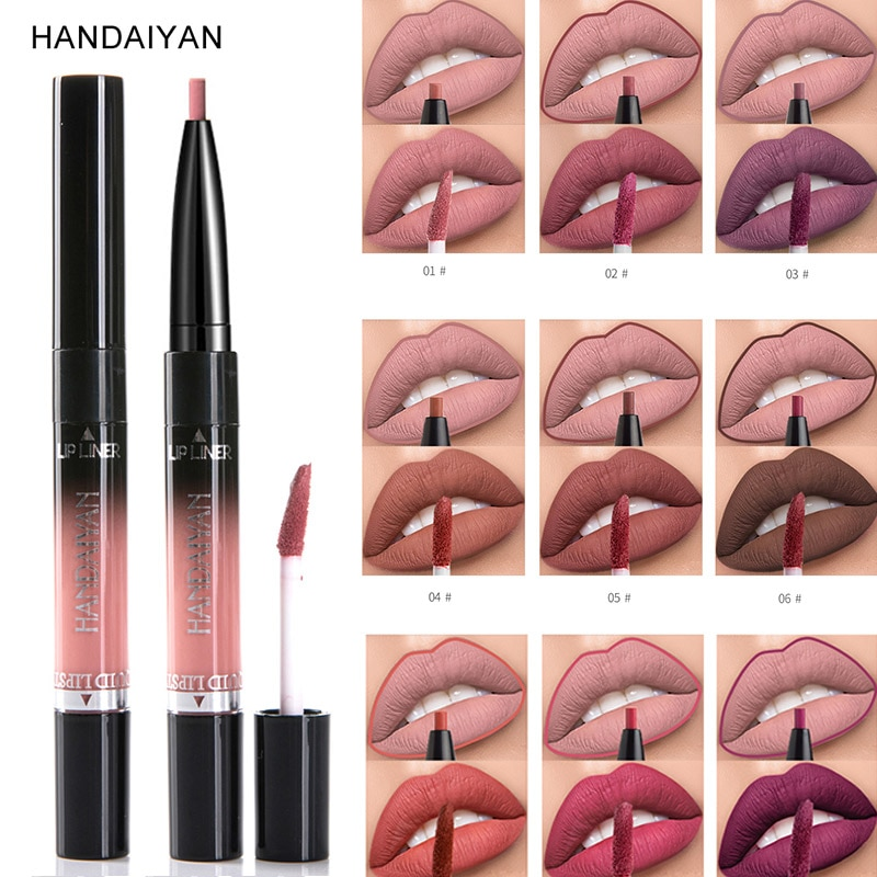 2 In 1 Matte Lip Gloss Lip Liner Pencil Waterproof Long Lasting Pigments HANDAIYAN Lipgloss Nude Color Lipliner Pen Cosmetics