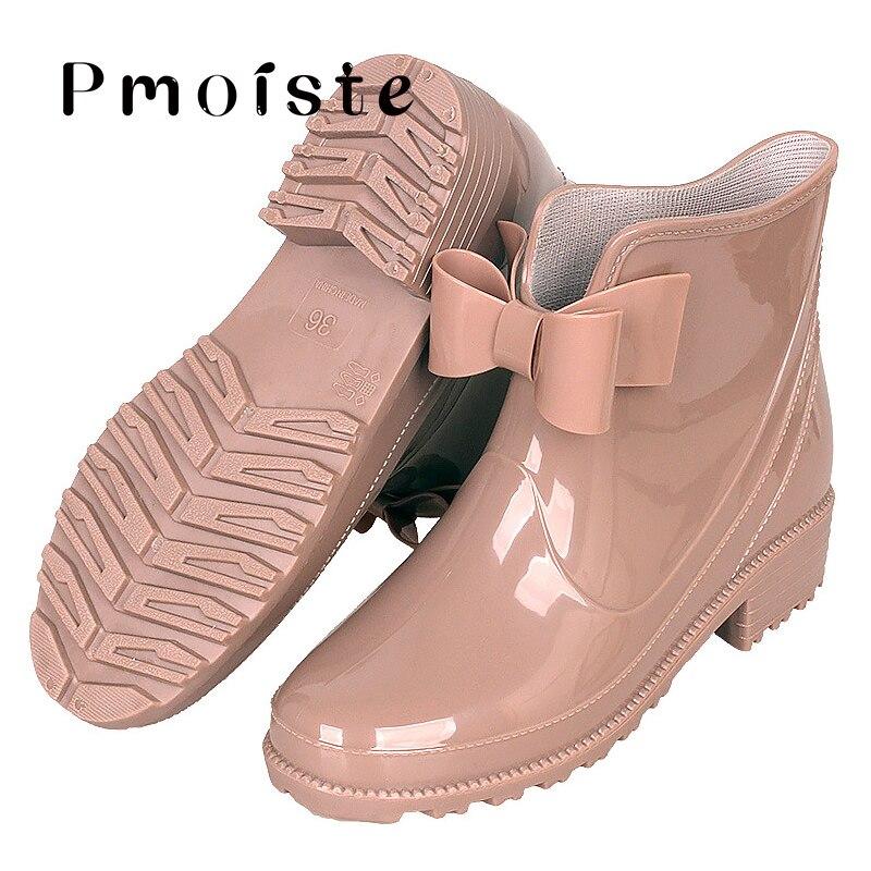 Botas de lluvia de las mujeres de talla grande 43 moda Nudo de mariposa de PVC sólido botas de goma a prueba de agua para las mujeres Slip On