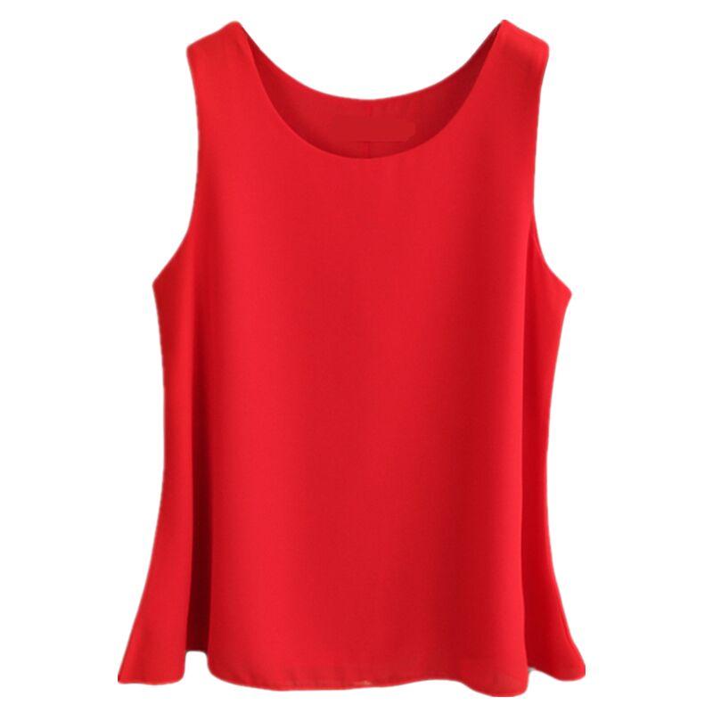 2019 verão New mulheres Casual camisa Chiffon blusa de Chiffon Vermelho Plus Size O-pescoço blusas sem mangas Colete feminino Solto Tops