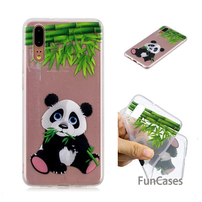 Caso de Huawei P20 Pro funda de silicona para Huawei P20 transparente caso P20 Panda de dibujos animados de la caja del teléfono del patrón hawaii