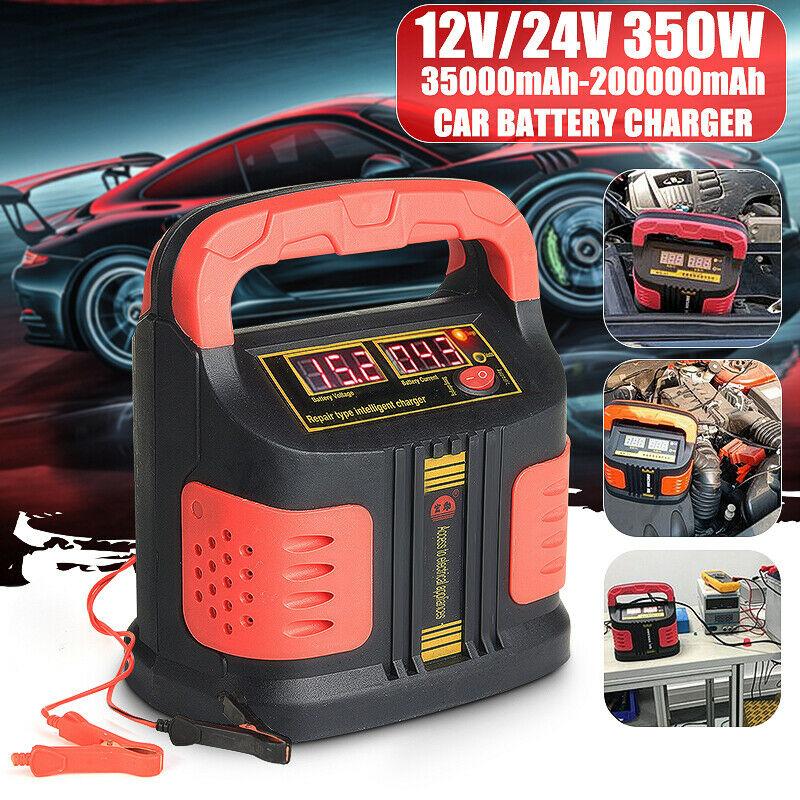 Cargador inteligente automático de 220V Reparación de batería de pulso 12/24V 350W 12 V/24 V cargador de batería de coche