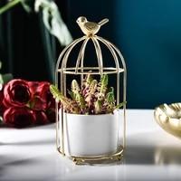 birdcage design ceramic planter porcelain flowerpot with metal shelf decorative vase container holder home table decoration