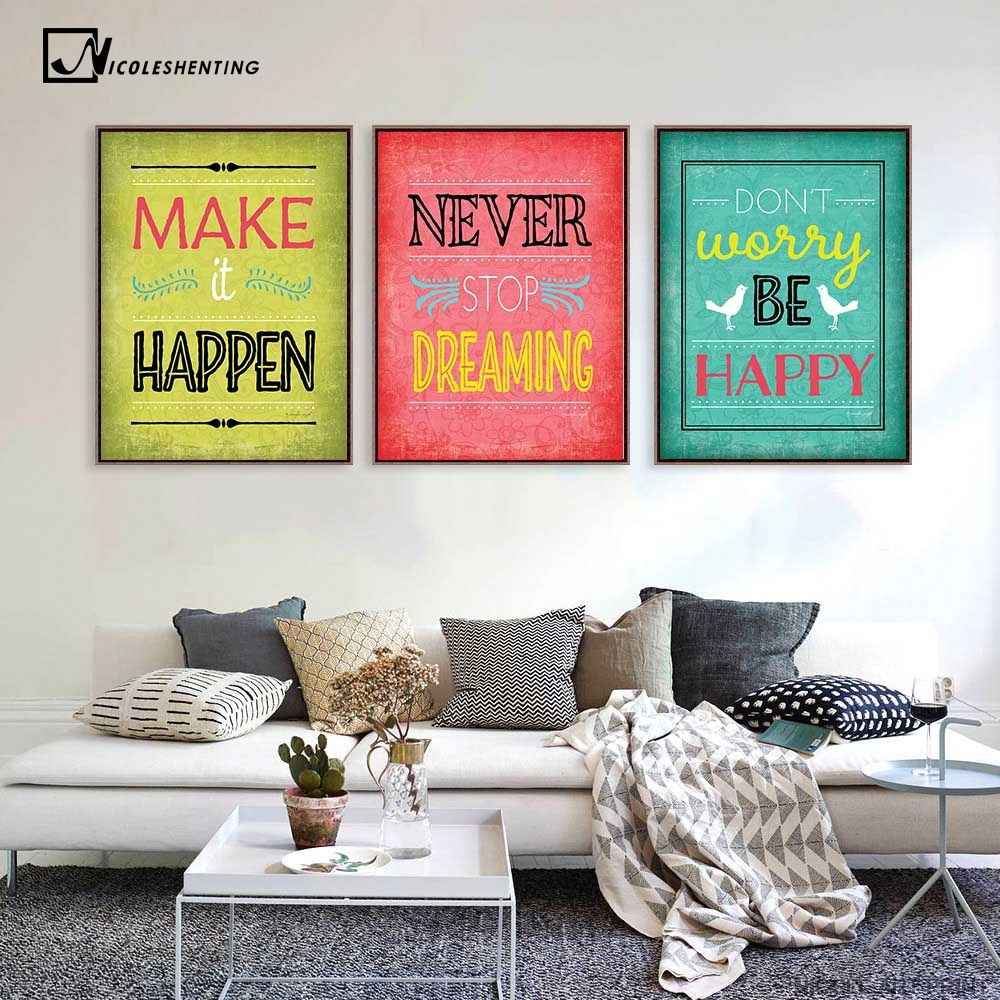 Motivacional frases artísticas lienzo Vintage Poster pintura minimalista Inspiratoinal Educación Cuadro moderno hogar Oficina habitación Decoración