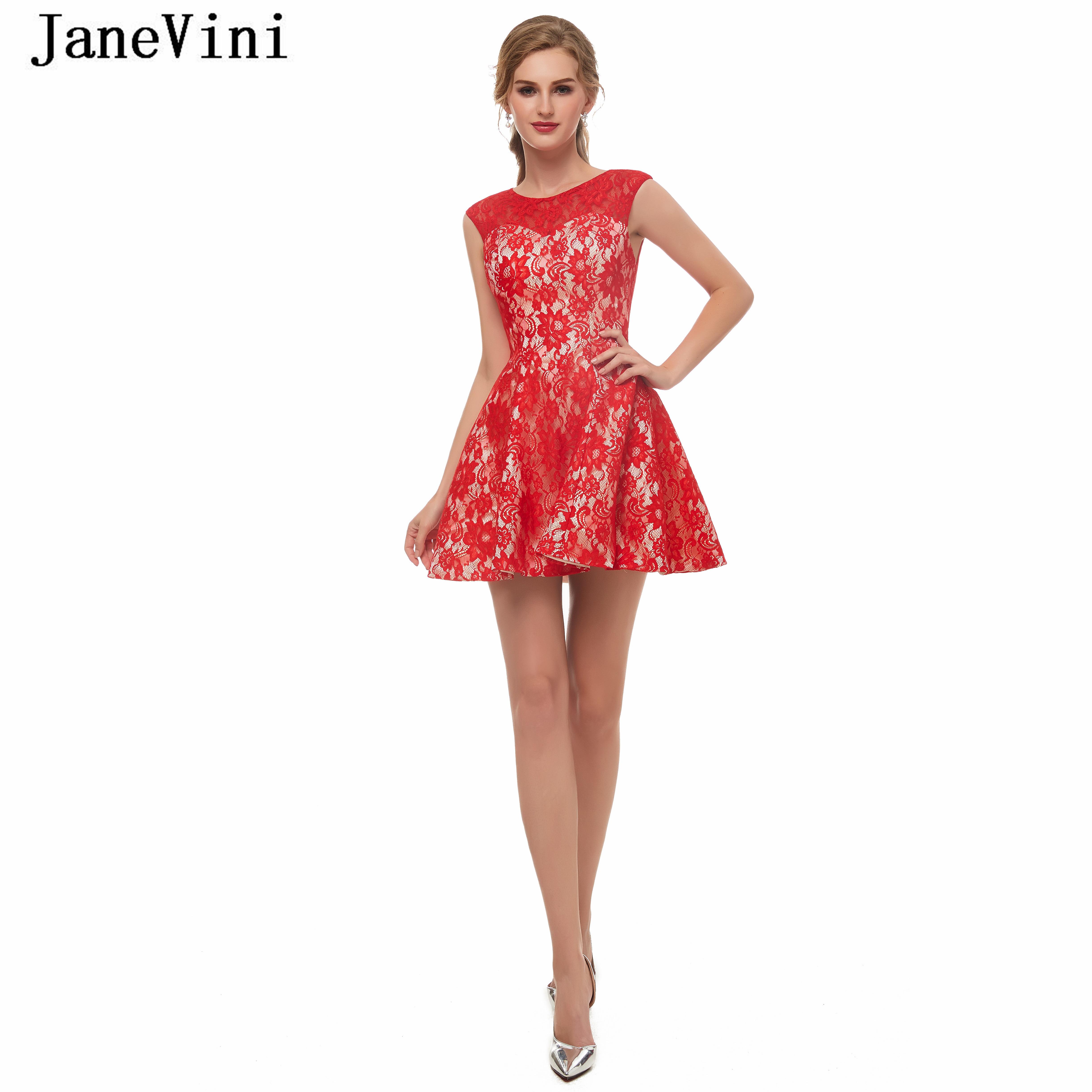 JaneVini-فستان أحمر قصير مع تقويرة على شكل حرف A ، ملابس أنيقة ، مع سحاب خلفي ، دانتيل ، مقاس كبير ، 2019