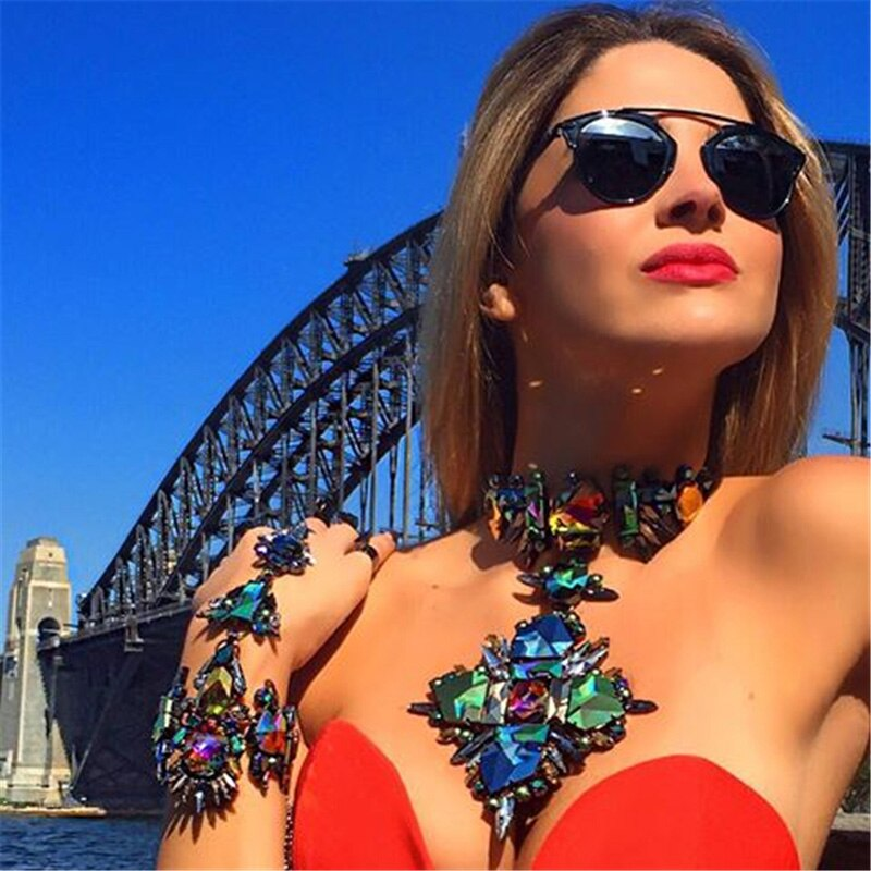 JURAN Bohemian Gargantilha Colar Colar 2019 de Cristal de Luxo Flor Colares & Pingentes Bib Declaração de Maxi Colares G2105-1