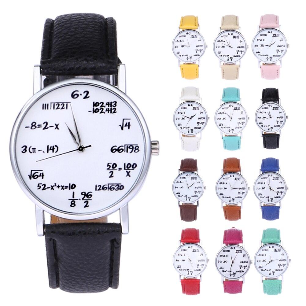 Relógio de pulso de quartzo feminino relógios de quartzo relógio de pulso de quartzo amantes de couro matemática estudante momento saat erkekler orologio matematica