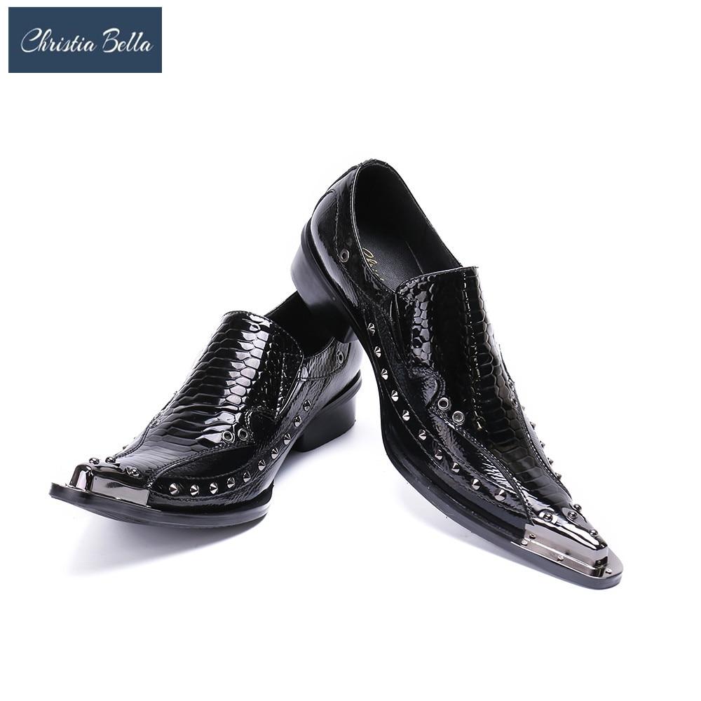 كريستيا بيلا الأعمال نمط المسامير الرجال فستان أحذية موضة رجل أحذية من الجلد الاجتماعية Sapato الذكور أوكسفورد الشقق أحذية الزفاف
