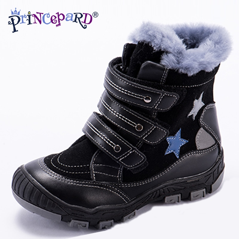 Princeprd New Winter Children's Orthopedic Supportive Shoes for Girls Boys 100% Natural Fur Star Pattern Orhopedic Boots kids enlarge