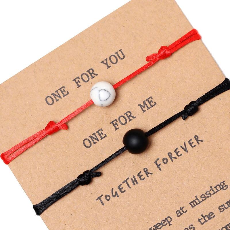 Подарок на годовщину, матовый браслет из лавы, регулируемые цветные веревочки, Парные браслеты
