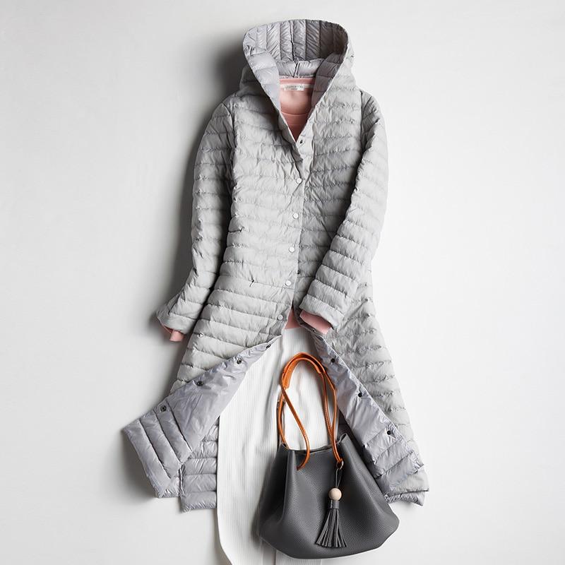 ¡Otoño Invierno 2018! chaqueta de plumón de pato blanco para mujer, abrigo largo de plumas, Parkas de señora, abrigos ultraligeros, ropa de abrigo con capucha AB882