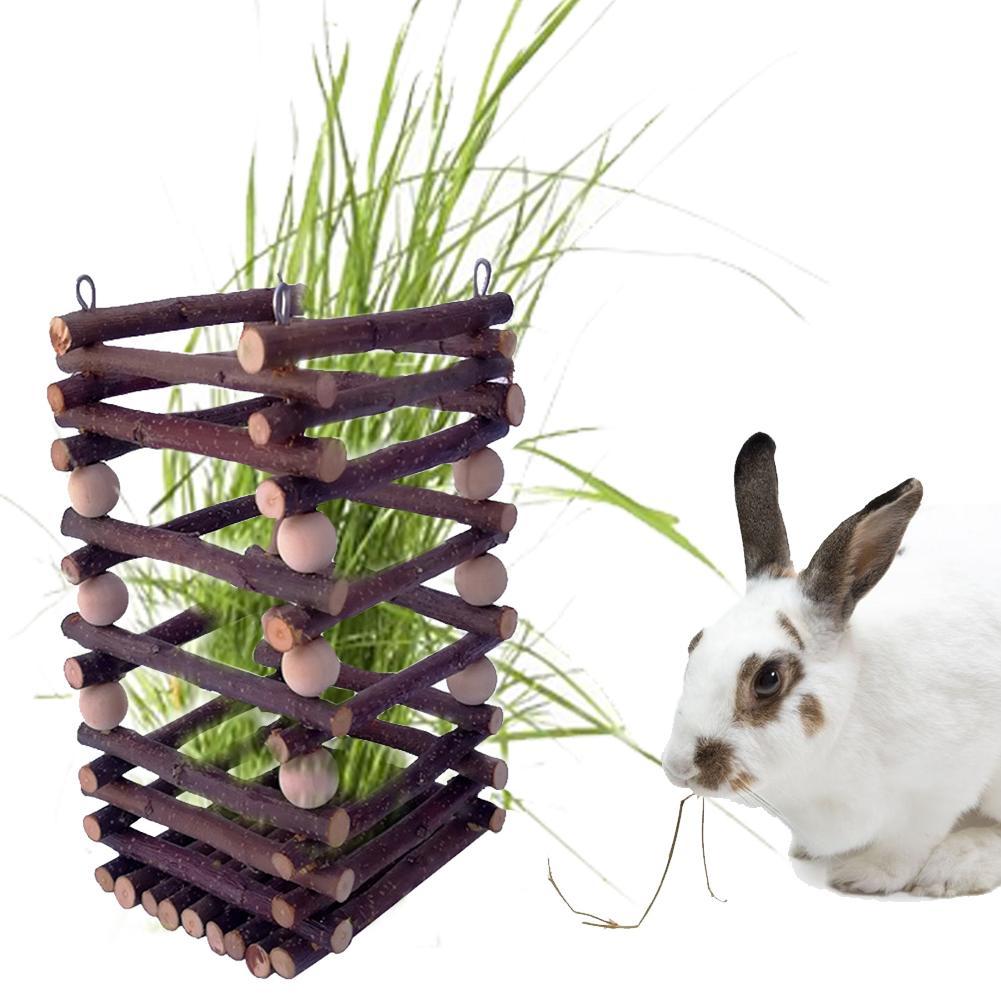 Comedero de juguete para mascotas con marco de hierba de heno de madera para conejos Chinchilla hámster conejillos de indias