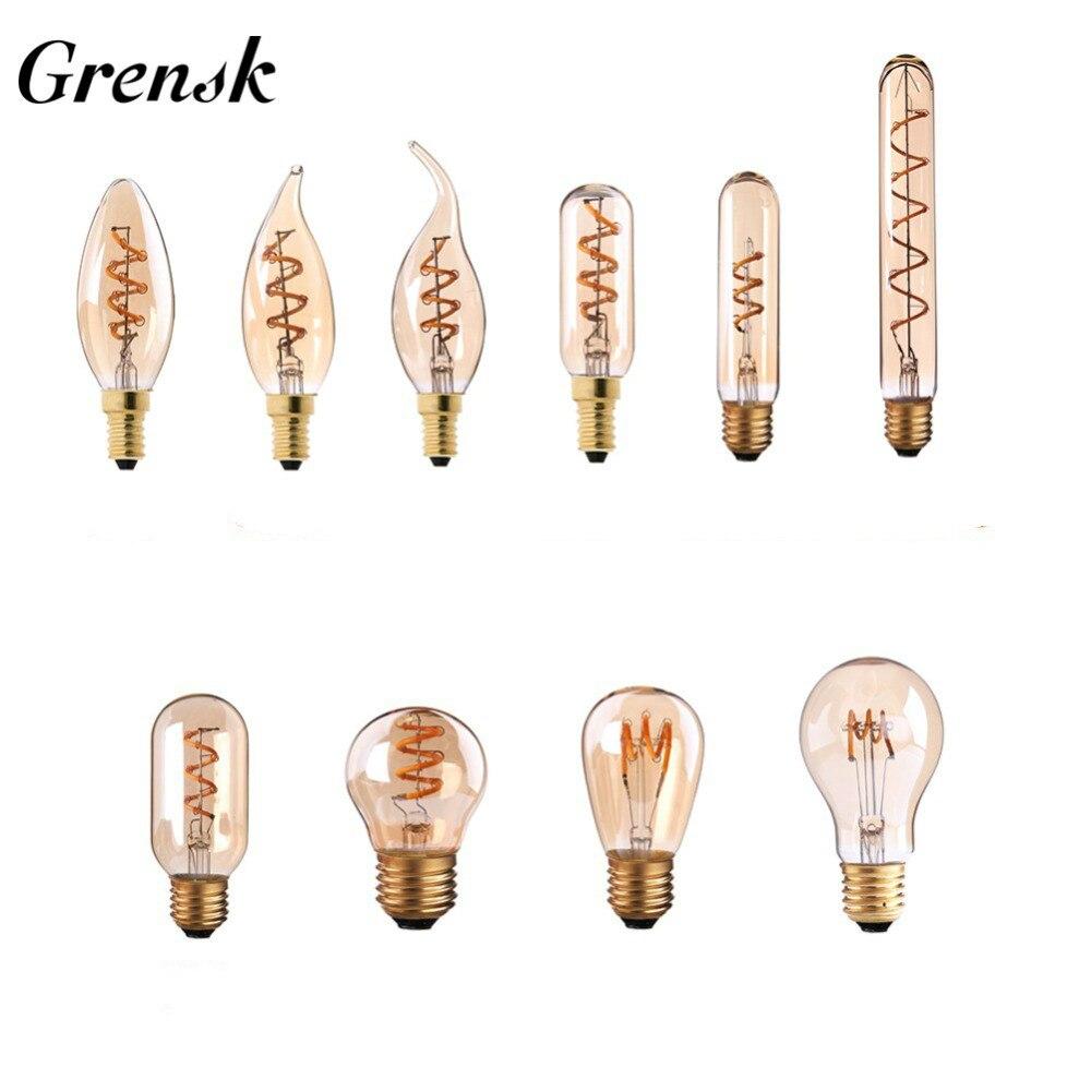 Grensk g45 led edison espiral lâmpada e27 pode ser escurecido filamento do vintage briliant ampola e14 220 v retro vela lâmpada t30