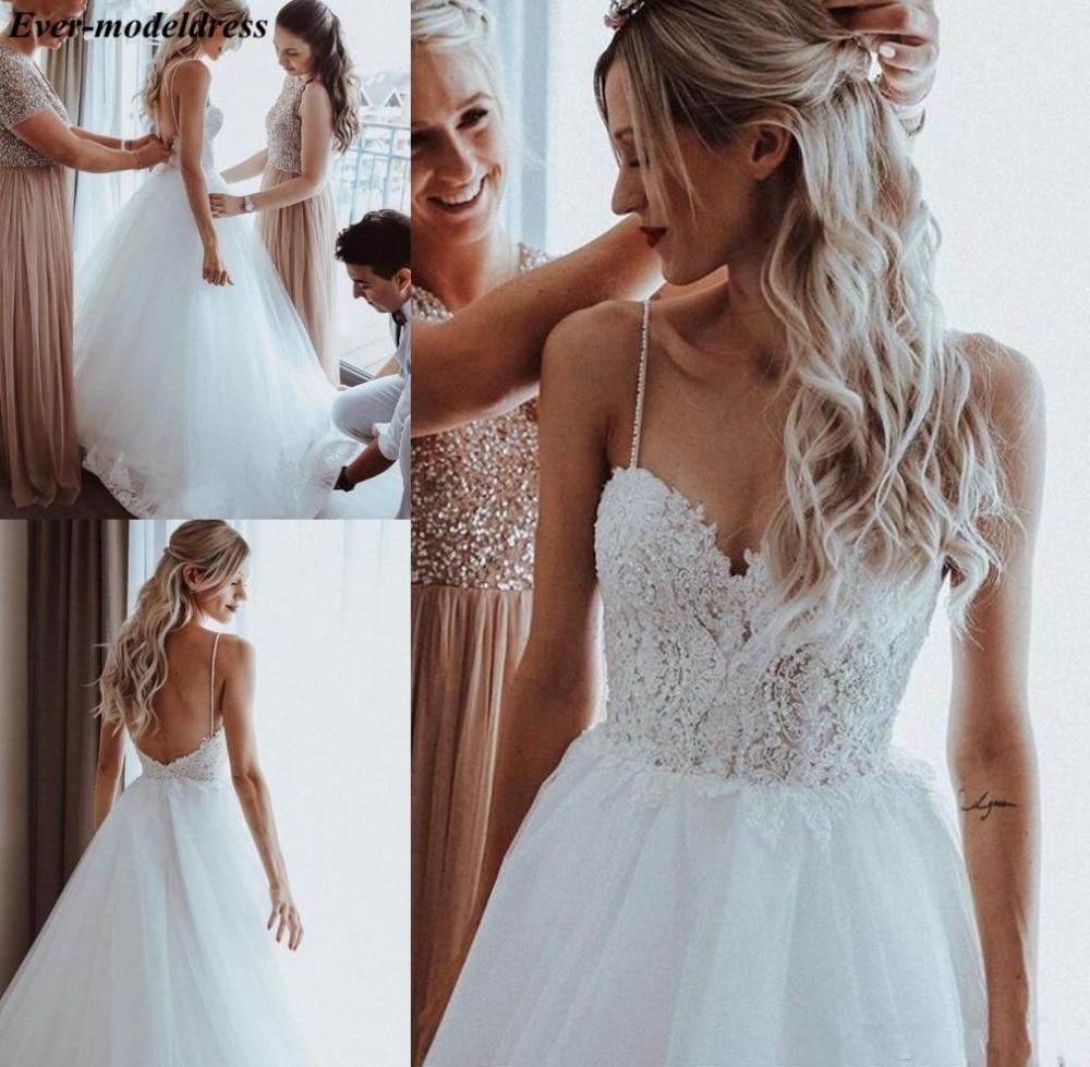 Свадебное платье в стиле бохо 2021, с открытой спиной, на тонких бретелях, а-силуэта, пляжное платье невесты, дешево