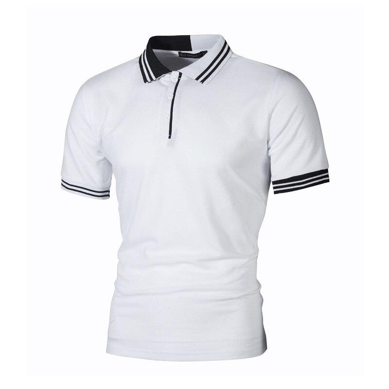 2019 breve Polo a rayas hombres Patchwork Silm Fit Polo Homme Casual verano manga corta Polo negocios marca ropa hombre