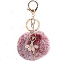 Chaveiro porte-clés moelleux Pom Pom porte-clés fausse Fourrure de lapin boule porte-clés Pompon ange fille Fourrure Pompon femmes sac accessoires