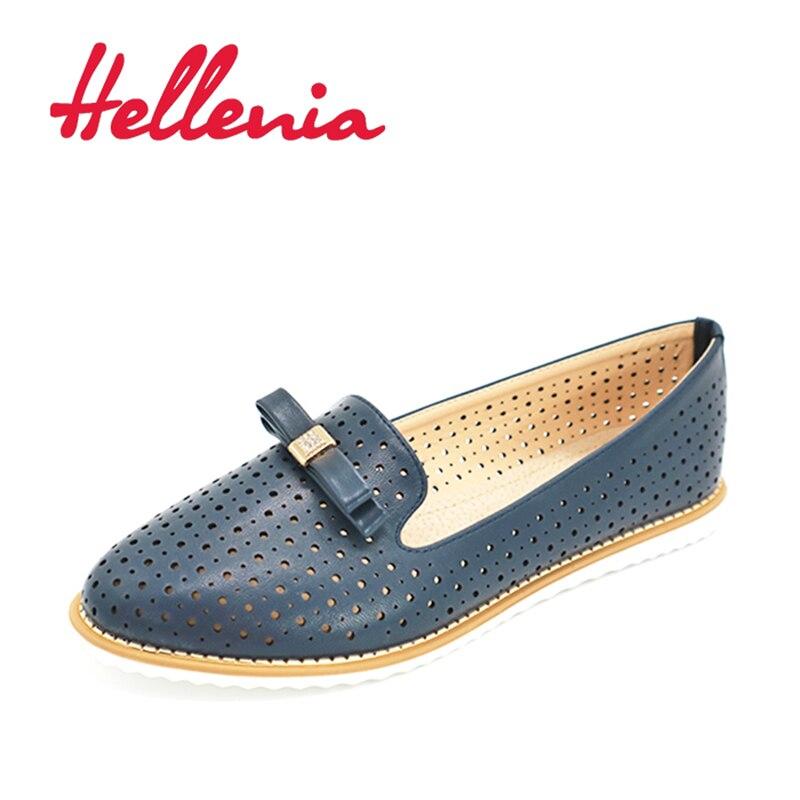 Zapatos de mujer Hellenia, mocasines planos de primavera y verano con lazo de estrás, color azul marino, TPR, zapatos informales ligeros, zapatos de mujer con agujeros transpirables
