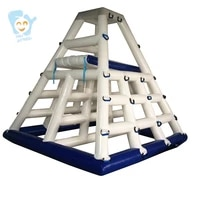 large inflatable water floating islands fun sports water games inflatable climbing wall giant adult water slide beach fun park