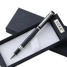 Papeterie Promotion Duke série mode lisse noir et argent stylo à bille roulante de luxe en métal cadeau stylos à bille pour lécriture