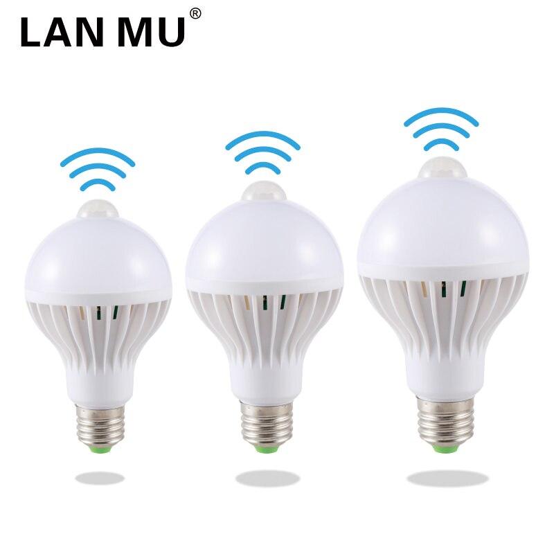 LAN MU LED PIR Motion Sensor Lamp 5w Led Bulb E27 7w 9w Auto Smart Infrared Body With The Lights
