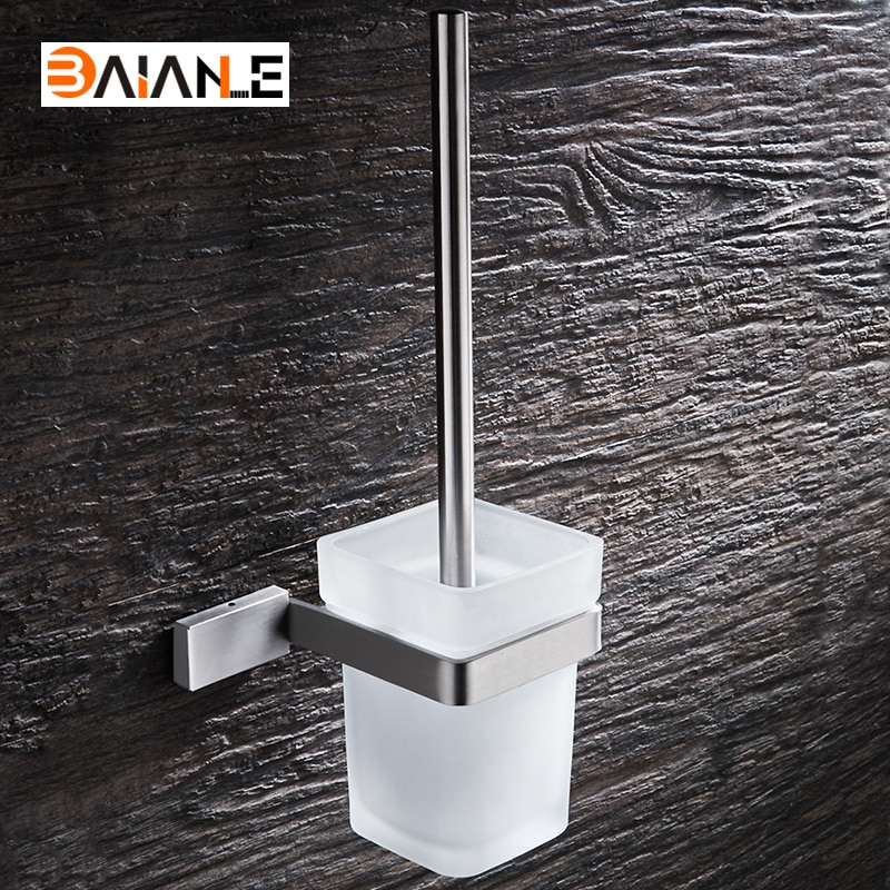Wall Mounted Toilet Brush Holder Stainless Steel WC Brush with Long Handle for Home Bathroom Accessories veke bathroom stainless steel gold toilet brush holder black wall mounted toilet brush set for shower room