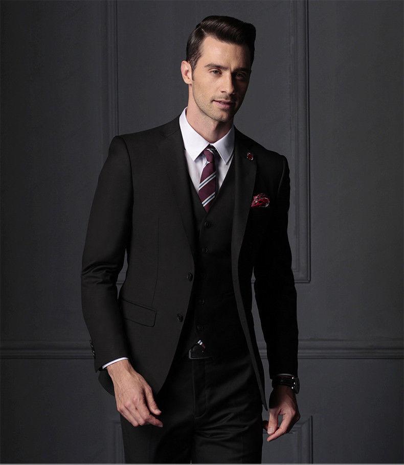 Popular Black Mens Suit Tuxedo Businessman Groom Wedding Party Prom Suits Custom