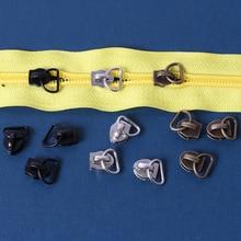 5# 15pcs D Shape Zipper Head Sliders Zip Repair Kit Replacement For Diy Handwork Sewing Tailor Tools Clothing Accessories
