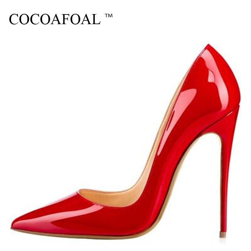 COCOAFOAL, nuevos zapatos sexis de mujer, zapatos de tacón alto patentados para mujer, zapatos de tacón alto con punta puntiaguda, zapatos de fiesta sexis de charol para boda