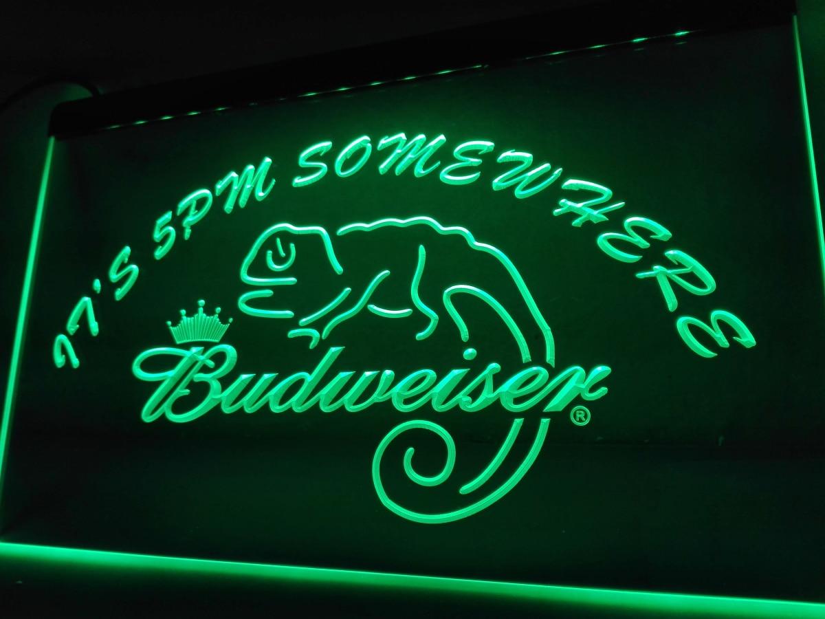 LA443- Its 5 pm en algún lugar Budweiser lagarto letrero de neón manualidades decorativas para el hogar
