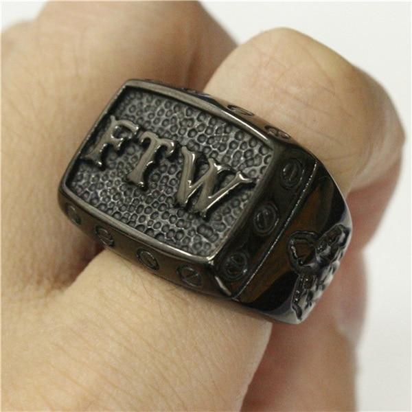 Anillo de medio dedo FTW negro 316L, joyería de acero inoxidable, anillo de motociclista, talla 7 ~ 14