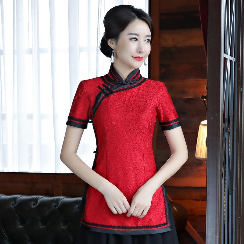 Blusa de encaje de Mujer china tradicional Camisa roja de verano a la moda cuello mandarín Tops Qipao Mujer Camisa S M L XL XXL XXXL