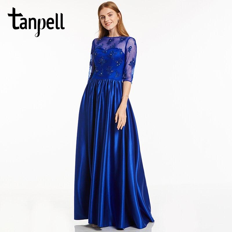 فستان سهرة برقبة مغرفة من Tanpell مزين باللون الأزرق الملكي نصف كم طول الأرض ثوب حفلة موسيقية للنساء فساتين سهرة طويلة مطرز بالخرز