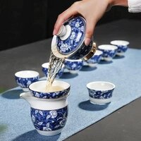 jingdezhen blue and white tea sets household teapots cups sets ceramic kung fu tea sets chinese gift boxes