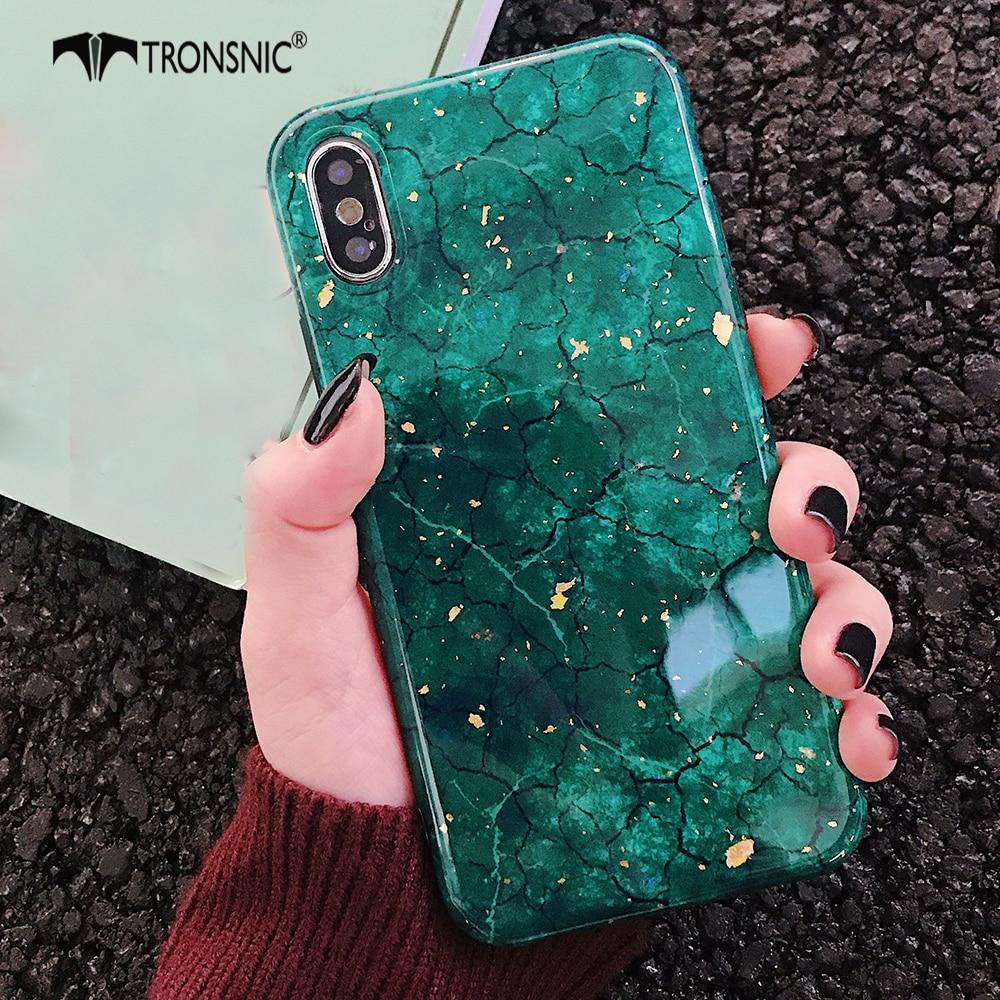 TRONSNIC brillo funda para iPhone x XS MAX XR verde púrpura carcasa para iPhone 6S 6 7 8 Plus de hoja de oro rojo de lujo de moda