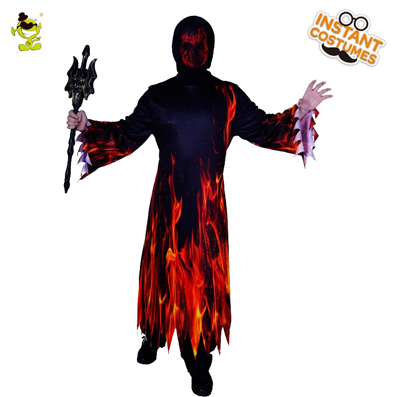 Halloween Men's Fire Costume Halloween Cosplay Costumes Party Purim Role Play Fancy Dress for Adult Male недорого