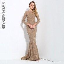 Женское блестящее платье LOVE & LEMONADE, длинное золотистое платье в форме лозы и хвоста, модель LM80322