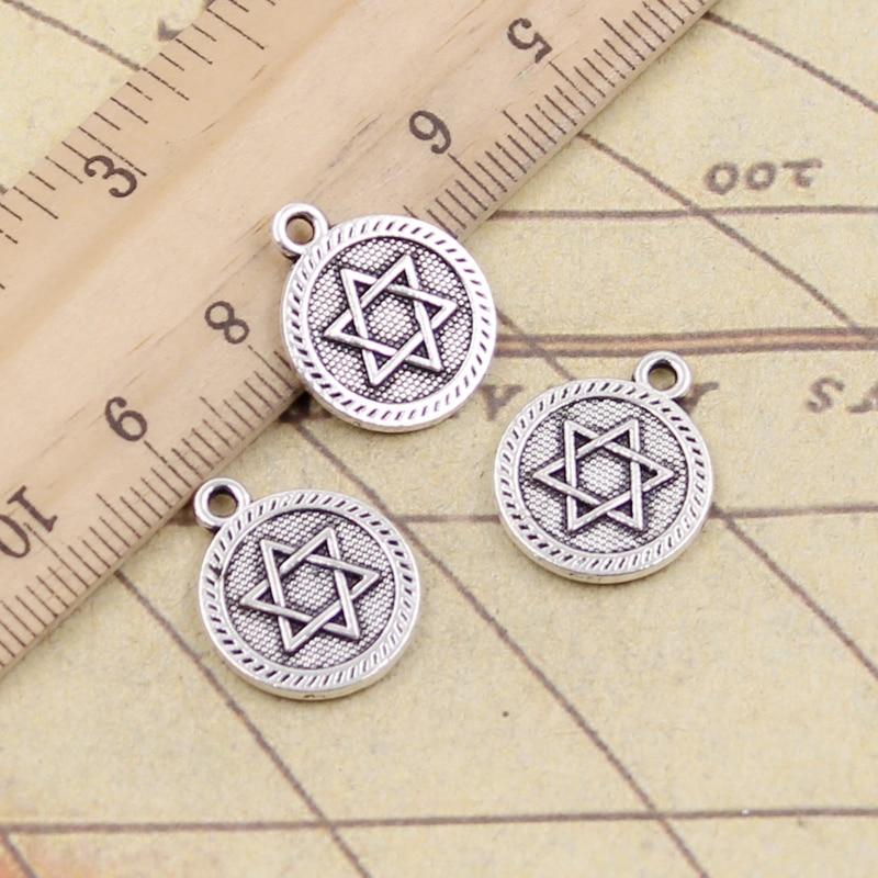 10pcs Charms Star Of David Shield Of David 18x15mm Tibetan Silver Color Pendants Antique Jewelry Making DIY Handmade Craft