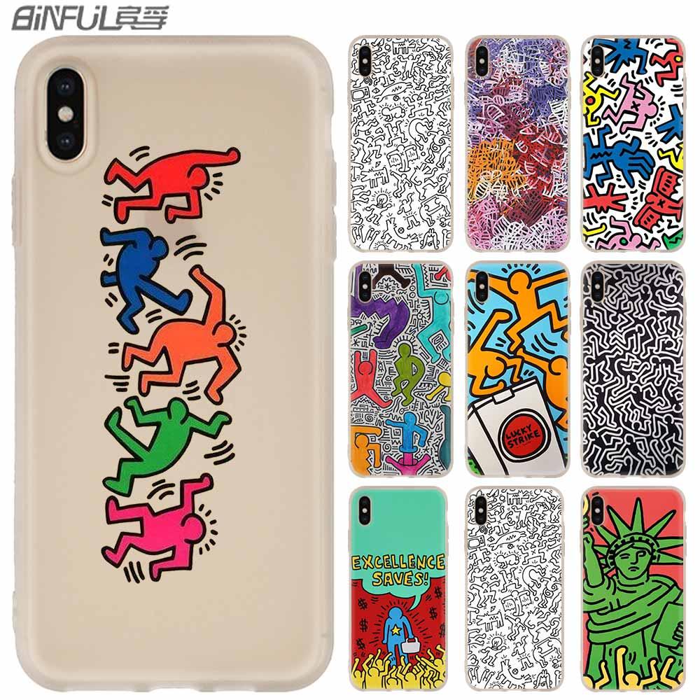 Funda suave para iPhone 11 Pro 2019 X XS Max XR para iPhone 5 y 5s 6S 6 4 4S 7 8 Plus Keith Haring iconos del humano