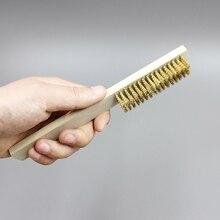 Cepillo de alambre de cobre Briste con mango de madera y alambre de 208mm para limpieza de metales para lishao, qiang para mejorar el hogar
