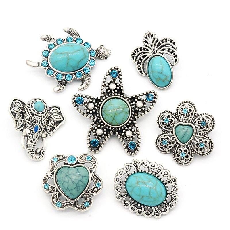 Nova KZ1397 Beleza turquoisestone padrão Elefante flores estrela do mar 20mm snap botões fit pressão pulseira de jóias por atacado