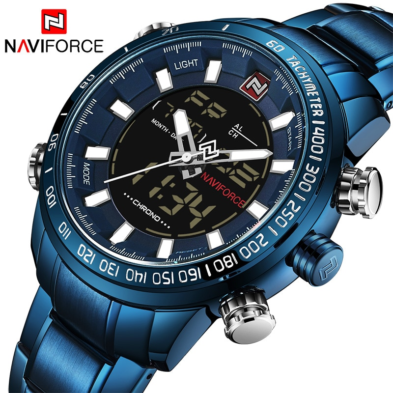 NAVIFORCE-ساعة رياضية رجالية ، كرونو ، عسكرية ، مقاومة للماء ، بإضاءة خلفية ، رقمية ، ساعة توقيت