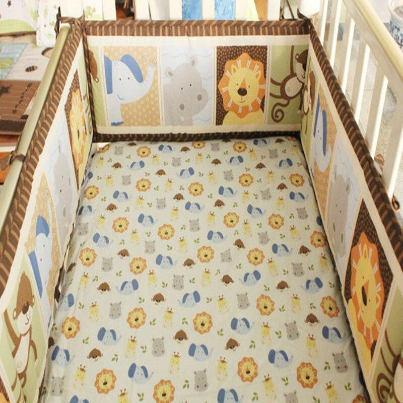 Bnfant 4 Pcs Dos Desenhos Animados Do Bebê Do Algodão Respirável Crib Bumper Proteção Segura para o Fundamento Do Bebê Fundamento Do Bebê Define Bumper Leão