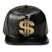 adult novelty golden dollar baseball cap leather snapback hats one size bling streetwear hip hop man brim bone summer 2021 cool